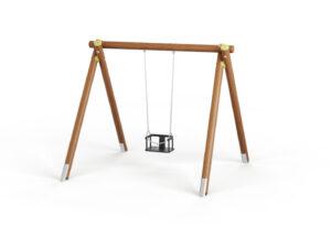 Huśtawka pojedyncza z siedzonkiem kubełkowym, belką górną drewnianą