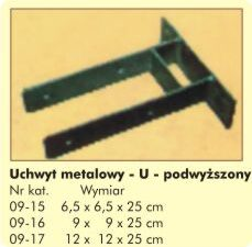 """Uchwyt Metalowy """"U"""" podwyższony 12x12x25cm"""